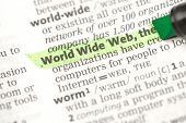 World Wide Web definition hughlighted in green in the dictionary