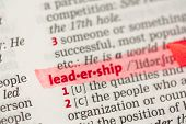 Leadership definition highlighted in red in the dictionary