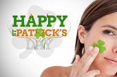 picture of st patty  - Saint patricks day greeting with smiling woman with shamrock on face - JPG