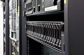 stock photo of mainframe  - Network servers hdd in a data center - JPG
