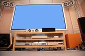 picture of high-def  - Home theater on a modern interior background - JPG