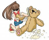 stock photo of loveless  - A naughty girl is destroying a teddy bear aggressively - JPG