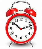 stock photo of analog clock  - Red alarm clock - JPG