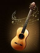 picture of g-string  - Illustration of a brown guitar with musical notes - JPG