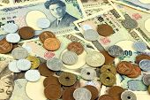 stock photo of japanese coin  - Various japanese yen bills and coins  - JPG