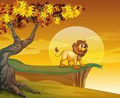 stock photo of mountain lion  - Illustration of a lion near the mountain cliff - JPG