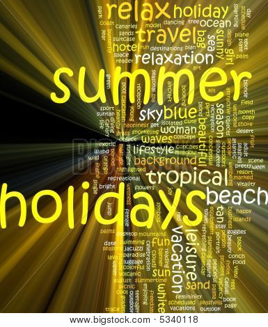 Summer Holidays Word Cloud Glowing