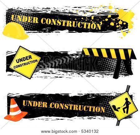 Sob banners de construção