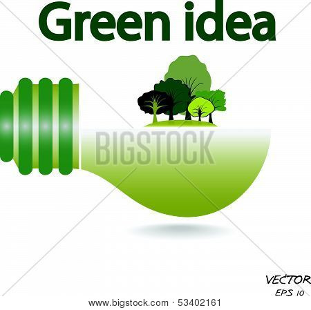 Trees And Green Light Bulb On White Background,green Idea