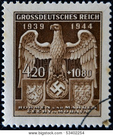 GERMAN REICH - CIRCA 1944: A stamp printed Germany shows eagle and swastika circa 1944