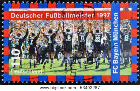 stamp printed in Germany shows FC Bayern Munchen 1997 German Soccer Champions