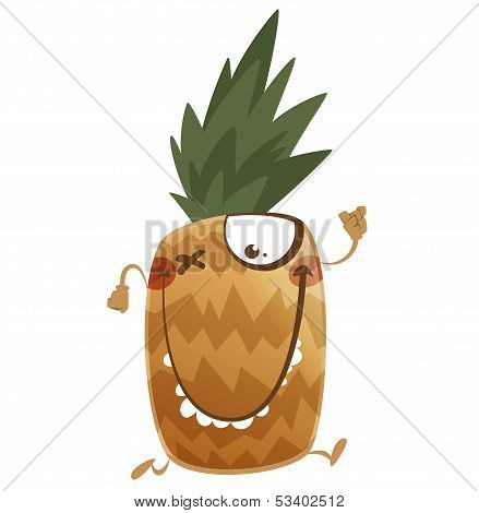 Crazy Cartoon Brown Pineapple Fruit Character Running