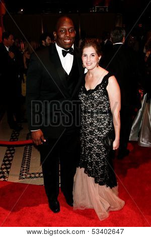 NEW YORK-SEP 17: Pro football player Kevin Boothe (L) and wife Rosalie attend the 14th annual New Yorkers For Children Fall Gala at Cipriani 42nd Street on September 17, 2013 in New York City