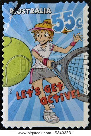 AUSTRALIA - CIRCA 2009: A stamp printed in Australia shows tennis