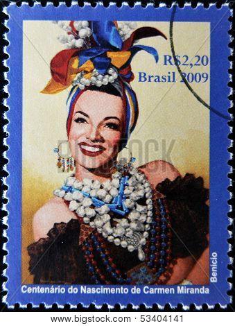 BRAZIL - CIRCA 2009: A stamp printed in Brazil shows Carmen Miranda circa 2009