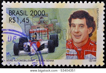 BRAZIL - CIRCA 2000: A stamp printed in Brazil dedicated to motor shows Ayrton Senna
