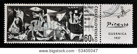 A stamp printed in Czechoslovakia shows painting by Pablo Picasso