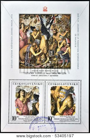 CZECHOSLOVAKIA - CIRCA 1978: Stamps printed in Czechoslovakia shows Flaying of Marsyas by Titian
