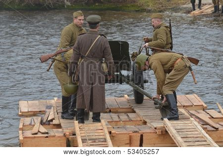 KIEV, UKRAINE -NOV 3  An unidentified members of Red Star history club wear historical Soviet uniform during historical reenactment of WWII, Dnepr river crossing 1943, November 3, 2013 . Kiev, Ukraine