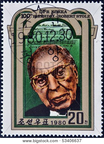 NORTH KOREA - CIRCA 1980: A stamp printed in DPR Korea shows Robert Stolz circa 1980