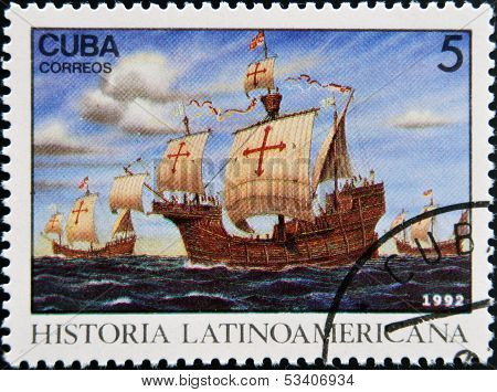 stamp dedicated to Latin American history shows Three ships stopping at Canary Islands