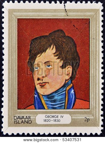 stamp printed in Davaar Island dedicated to the kings and queens of Britain shows King George IV