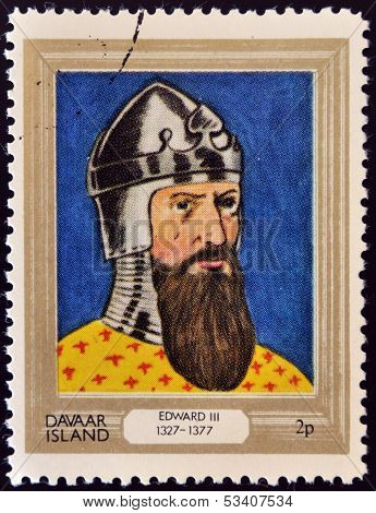 stamp printed in Davaar Island dedicated to the kings and queens of Britain shows King Edward III