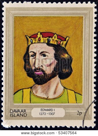 stamp printed in Davaar Island dedicated to the kings and queens of Britain shows King Edward I