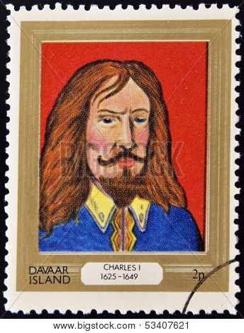 stamp printed in Davaar Island dedicated to the kings and queens of Britain shows King Charles I