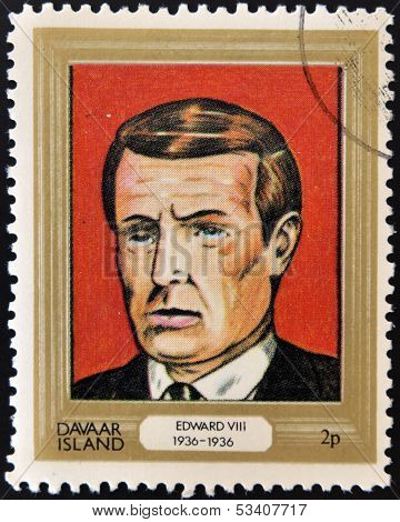 stamp printed in Davaar Island dedicated to the kings and queens of Britain shows King Edward VIII