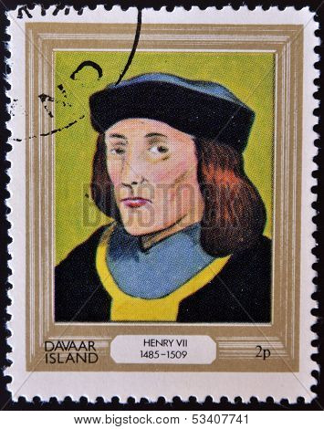 stamp printed in Davaar Island dedicated to the kings and queens of Britain shows King Henry VII