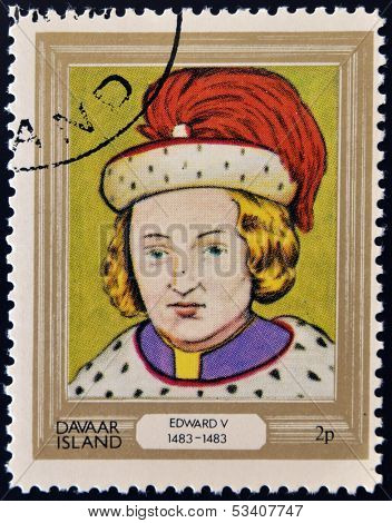 stamp printed in Davaar Island dedicated to the kings and queens of Britain shows King Edward V