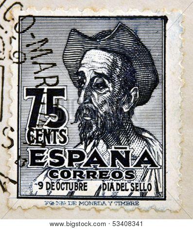 SPAIN - CIRCA 1947: A stamp printed in Spain shows Don Quixote circa 1947