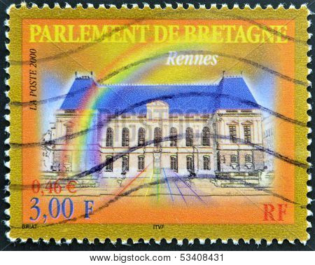 FRANCE - CIRCA 2000: A stamp printed in France shows Parliament of Brittany in Rennes circa 2000