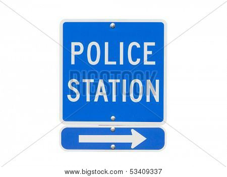Police Station Sign Isolated on White