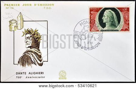 MONACO - CIRCA 1965: A stamp printed in Monaco shows Dante Alighieri circa 1965