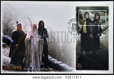 stamp printed in New Zealand dedicated to The Lord of the Rings shows Merry and Pippin