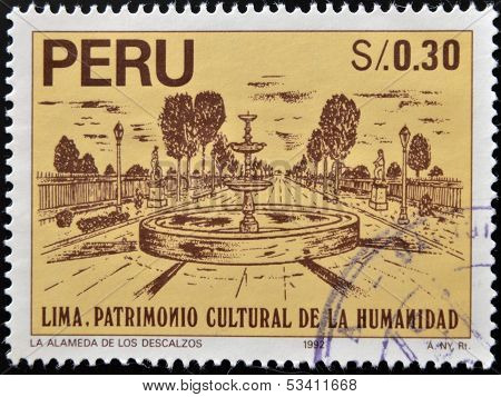 stamp dedicated to Lima humanity's cultural heritage shows the bare Mall La alamada de los descalzos