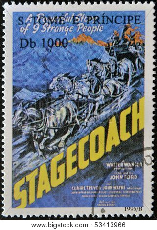 SAO TOME AND PRINCIPE - CIRCA 1995: A stamp printed in Sao Tome shows movie poster stagecoach