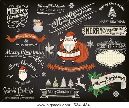 Christmas Design Elements and Greetings on Chalkboard - Set of Christmas greetings, banners, design elements, icons and symbols on blackboard