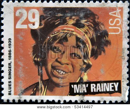 UNITED STATES OF AMERICA - CIRCA 1994: stamp printed in USA shows blues singer Ma Rainey circa 1994