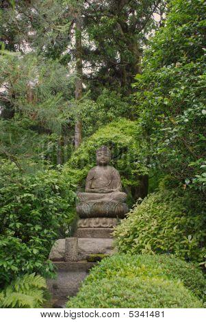 Buddha Statue At Ryoanji Temple Gardens