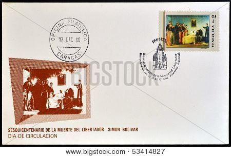 VENEZUELA - CIRCA 1980: A stamp printed in Venezuela dedicated to death of Simon Bolivar circa 1980