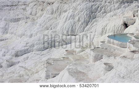 The Pamukkale Natural Lakes In Hierapolis Turkey