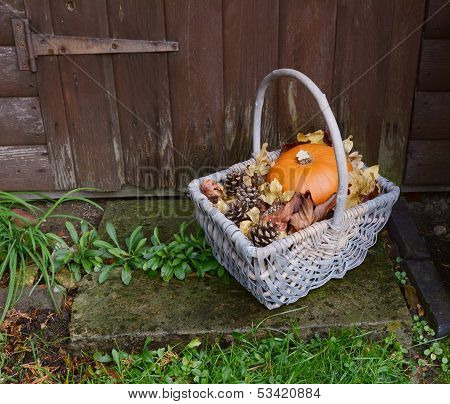 Basket With Pumpkin, Dry Leaves And Fir Cones On A Rustic Step