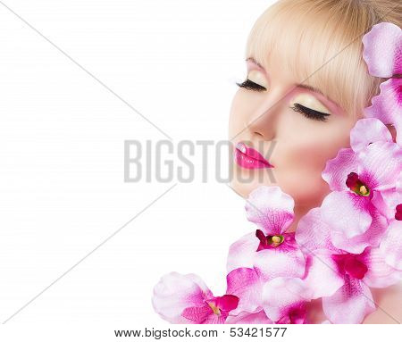 Beautiful Girl With Flowers And Perfect Makeup On White Background