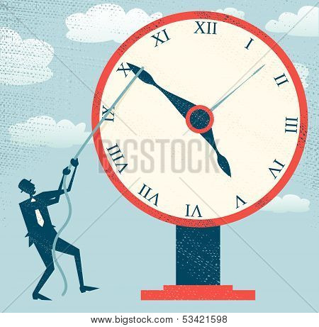 Abstract Businessman holding back Time.