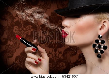 Beautiful Blonde Girl With Cigarette And Red Lips