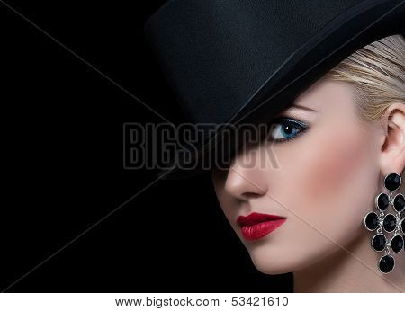 Pretty Blonde Woman With Red Lips