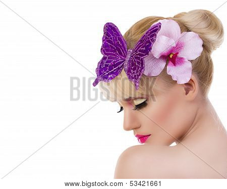Beautiful Girl With Orchid Flower And Butterfly